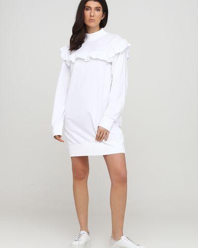 Трикотажное белое платье с длинными рукавами Alcott