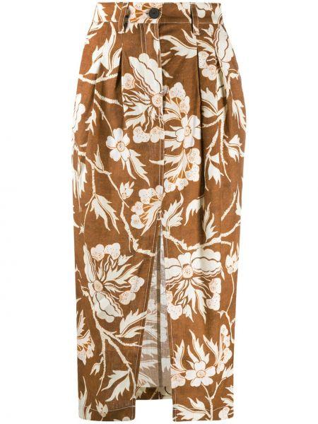Коричневая с завышенной талией юбка миди с поясом Mara Hoffman