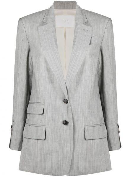 Шерстяной серый классический пиджак с карманами Tela