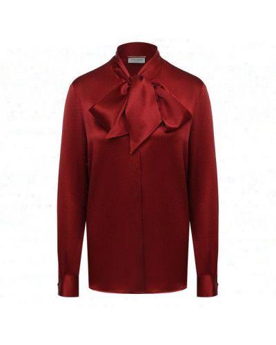 Шелковая красная блузка Saint Laurent