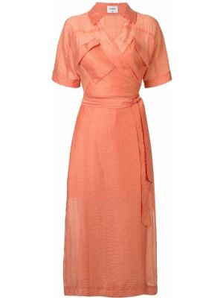 Платье миди на запах - оранжевое Suboo