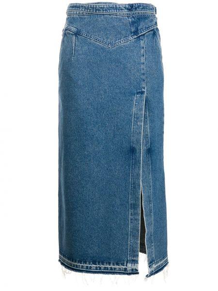 Хлопковая синяя джинсовая юбка на молнии с разрезом Redvalentino