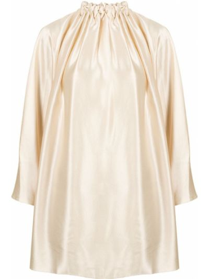 Сатиновая с рукавами блузка с драпировкой Roksanda