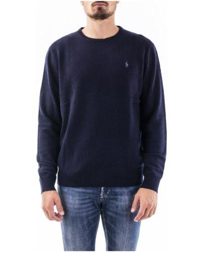 Prążkowany niebieski sweter wełniany Ralph Lauren