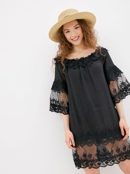 Платье с открытыми плечами черное By Swan