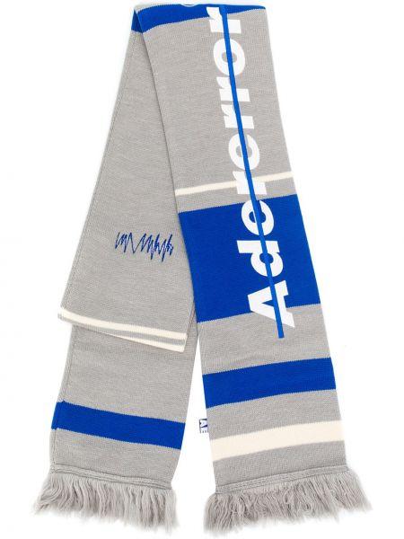 Niebieski szalik wełniany w paski Ader Error
