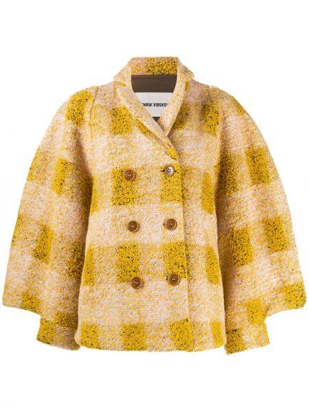 Желтый классический пиджак в клетку двубортный Henrik Vibskov