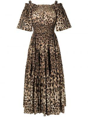 Хлопковое коричневое платье миди с короткими рукавами Dolce & Gabbana