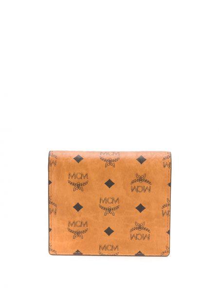 Skórzany czarny portfel z logo przezroczysty Mcm