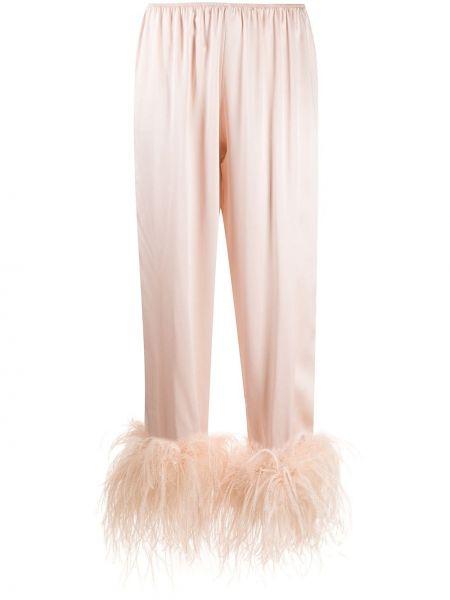 Шелковые брюки с воротником с поясом с декоративной отделкой Gilda & Pearl