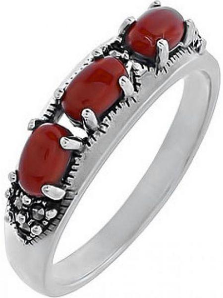 Кольцо из серебра красный марказит