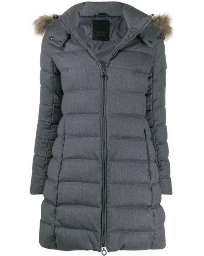 Коралловое шерстяное длинное пальто с воротником с опушкой Tatras