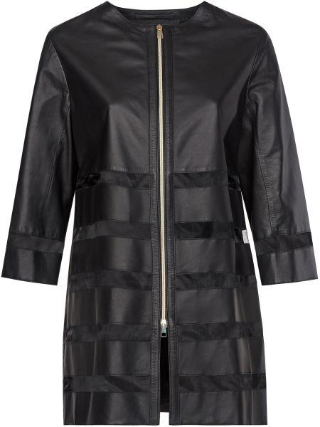 Кожаная куртка на молнии - черная Gallotti
