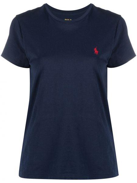 Хлопковая синяя с рукавами футболка Polo Ralph Lauren