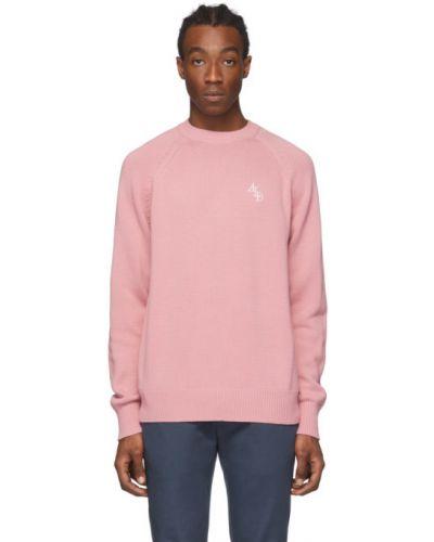 Różowy sweter z haftem bawełniany Aime Leon Dore