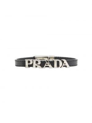 Czarna bransoletka skórzana Prada