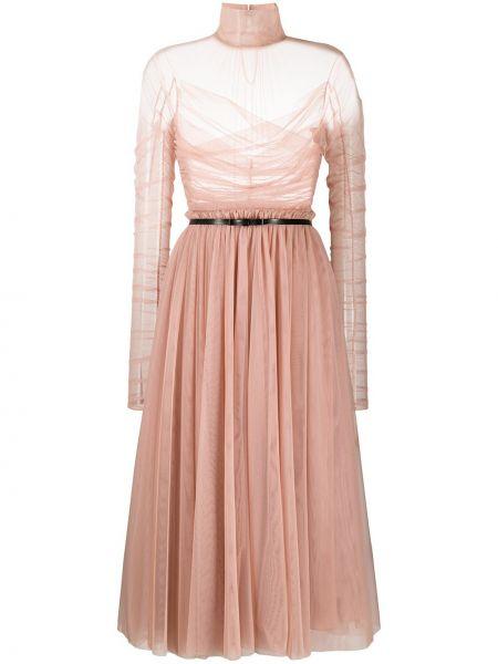 Różowa sukienka długa tiulowa z długimi rękawami Brognano