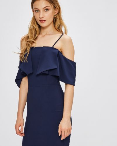 Темно-синее облегающее платье мини закрытое Miss Poem