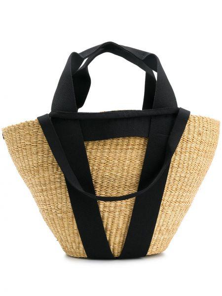Хлопковая черная соломенная сумка на плечо Muun