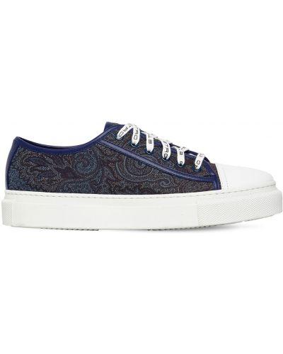 Синие кожаные кроссовки на шнуровке Etro