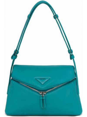 Niebieska torebka skórzana Prada