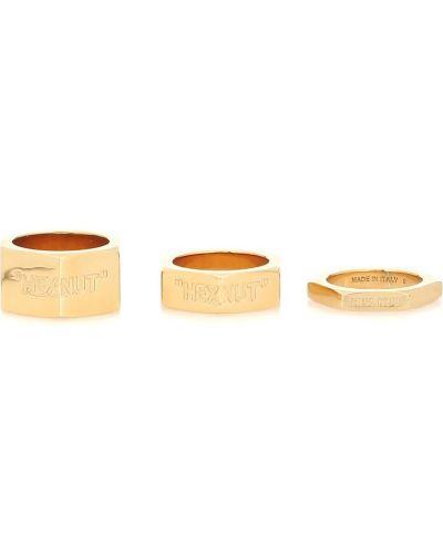 Кольцо из золота металлический Off-white
