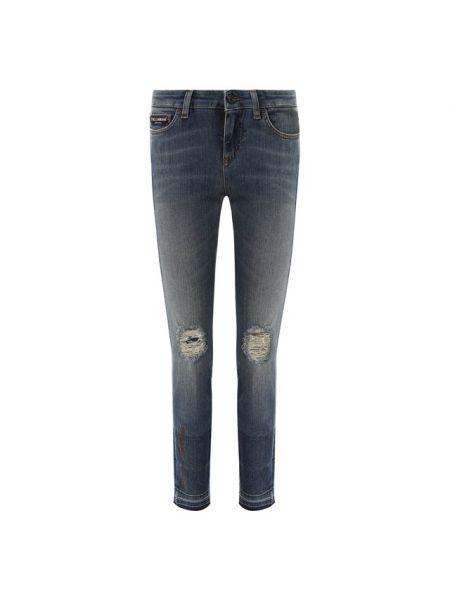 Укороченные джинсы скинни с надписью Dolce & Gabbana