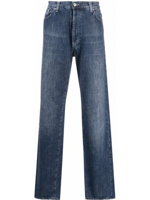 Синие классические прямые прямые джинсы на молнии Versace Pre-owned