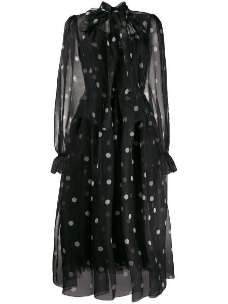 Расклешенное платье из фатина со вставками с воротником Dolce & Gabbana