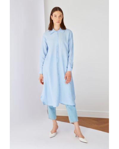 Niebieska tunika z wiskozy Koton