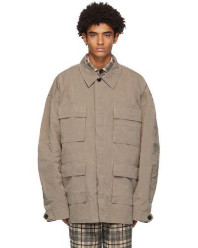 Бежевая нейлоновая длинная куртка на пуговицах оверсайз Schnaydermans