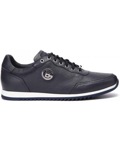 Синие кожаные кроссовки на шнуровке Baldinini