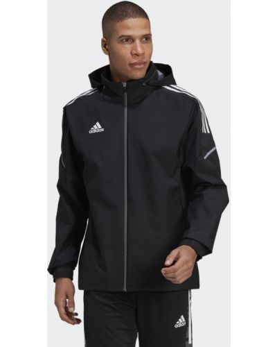Футбольная черная куртка на молнии Adidas
