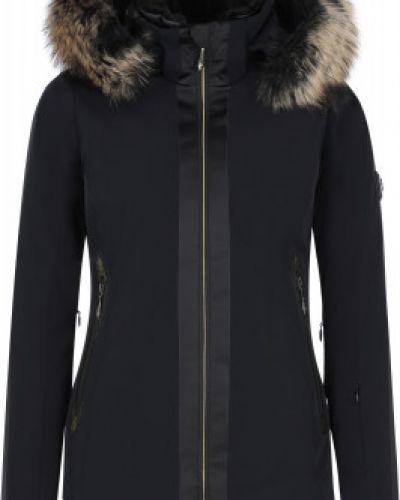 Приталенная черная утепленная куртка горнолыжная Descente