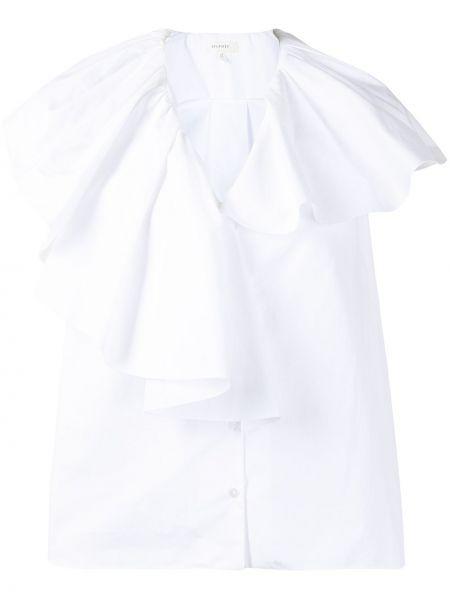 Хлопковая белая рубашка с вырезом Delpozo