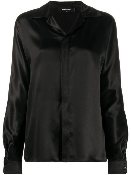 Шелковая рубашка - черная Dsquared2