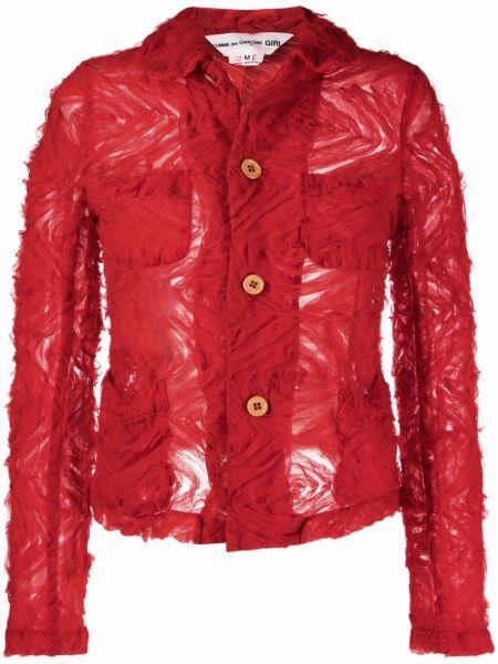Красный удлиненный пиджак с воротником на пуговицах Comme Des Garçons Girl