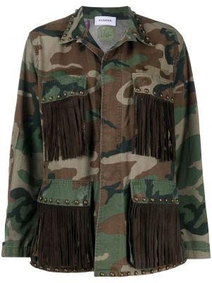 Коричневая кожаная куртка милитари P.a.r.o.s.h.