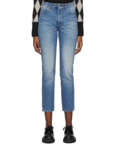 Серебряные кожаные прямые джинсы стрейч с заплатками Ami Alexandre Mattiussi