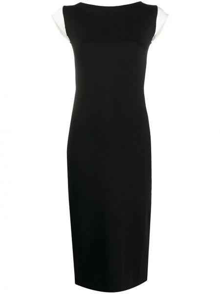 Прямое с рукавами черное платье миди Escada