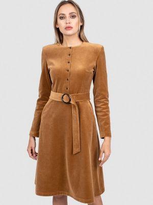 Прямое платье - коричневое энсо
