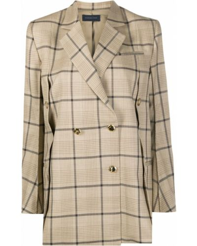 Удлиненный пиджак в клетку двубортный с карманами Eudon Choi