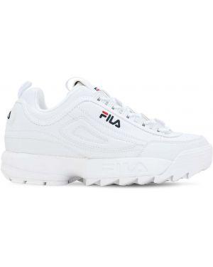 Białe sneakersy na platformie skorzane Fila Urban