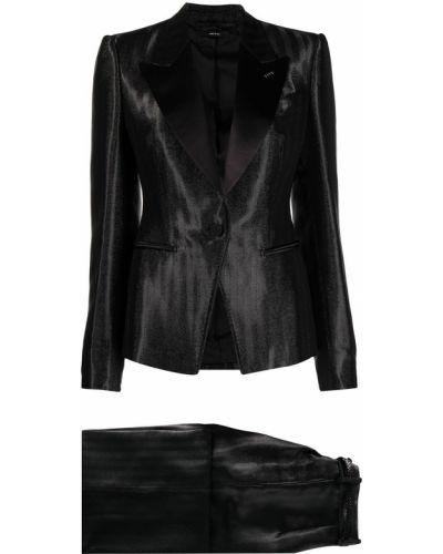 Kostium z rękawami czarny garnitur z klapami Tom Ford