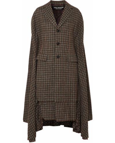 Коричневое шерстяное пальто с драпировкой Junya Watanabe