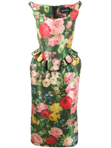 Платье с поясом с цветочным принтом прямое Richard Quinn