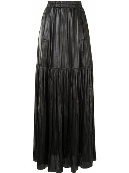 Черная с завышенной талией юбка макси со складками из искусственной кожи Manning Cartell