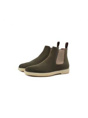 Зеленые замшевые ботинки Santoni