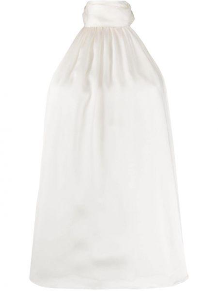 Bluzka bez rękawów biała jedwabna Zimmermann