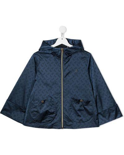 Синяя куртка с капюшоном на молнии Herno Kids